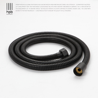 HPB 1.5M G1/2 Stainless Steel Plumbing Hose Tube For Bathroom Handheld Shower Hand Hold Shower Pipe Black Color H7102