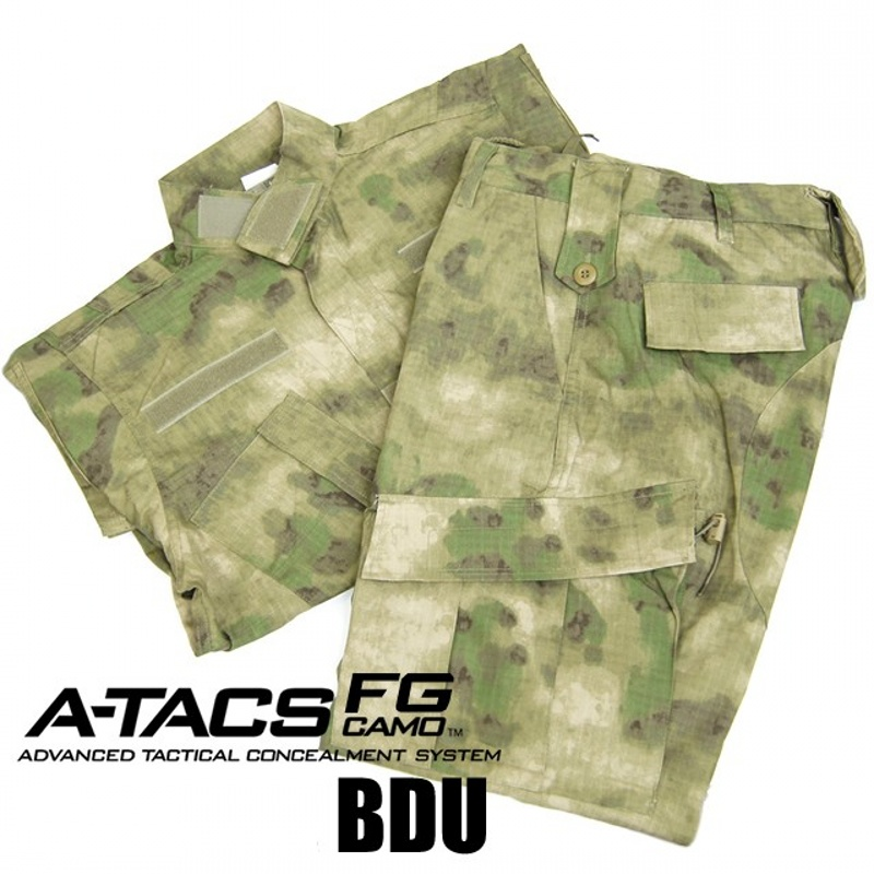 CQC Tactical Airsoft Military Army Uniform BDU Combat Uniform Men Jacket & Pants Set Outdoor Paintball Hunting(A-TACS FG)