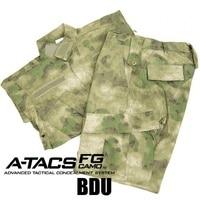 CQC Tactical Airsoft Military Army Uniform BDU Combat Uniform Men Jacket & Pants Set Outdoor Paintball Hunting(A-TACS FG)