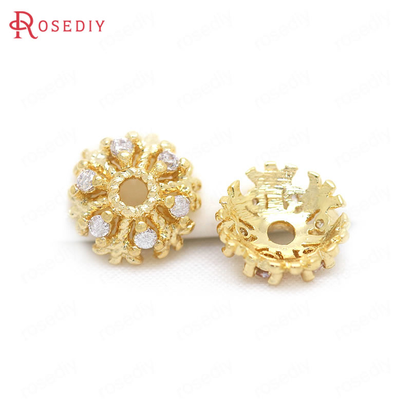 (34301)6PCS 7-8MM 24K Gold Color Brass With Zircon Snowflake Beads Caps High Quality Diy Jewelry Findings Accessories Wholesale