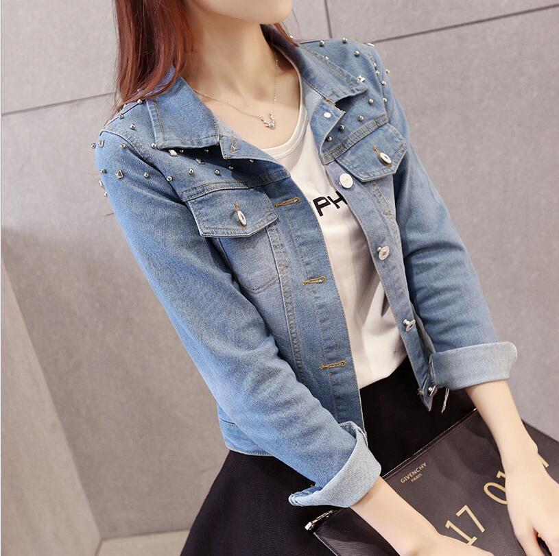 Nuevas mujeres Frayed denim chaquetas moda largo con cuentas Rivet jeans jacket