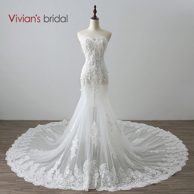 Vivian's Bridal Beaded Sequin Lace Sweetheart Mermaid Wedding Dress See Through Wedding Gown Court Train
