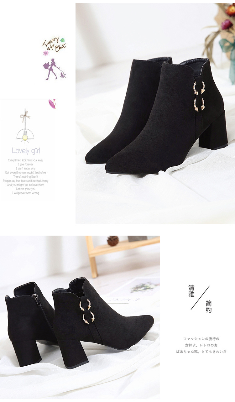 2019 Spring Autumn Women Boots New Fashion Casual Ladies Flock Short Boots Female Middle Heeled Boots M8D261 (7)