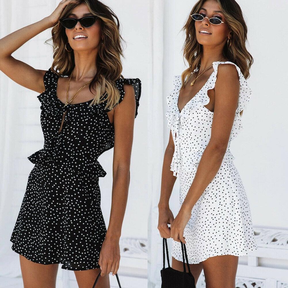Women Sleeveless Wrap Boho Polka Dot Mini Dress Ladies Summer Casual  Party Mini Sundress Holiday