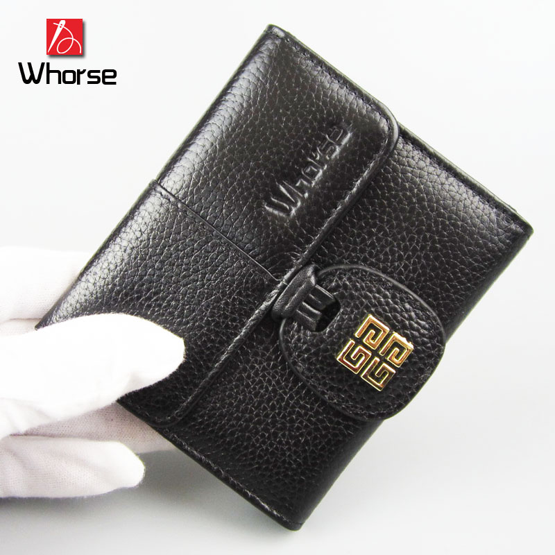 [WHORSE] Brand Logo New Fashion Women Wallets Short High-quality Genuine Leather Wallet For Women Cowhide Purse With Coin Pocket 2017 genuine cowhide leather brand women wallet short design lady small coin purse mini clutch cartera high quality