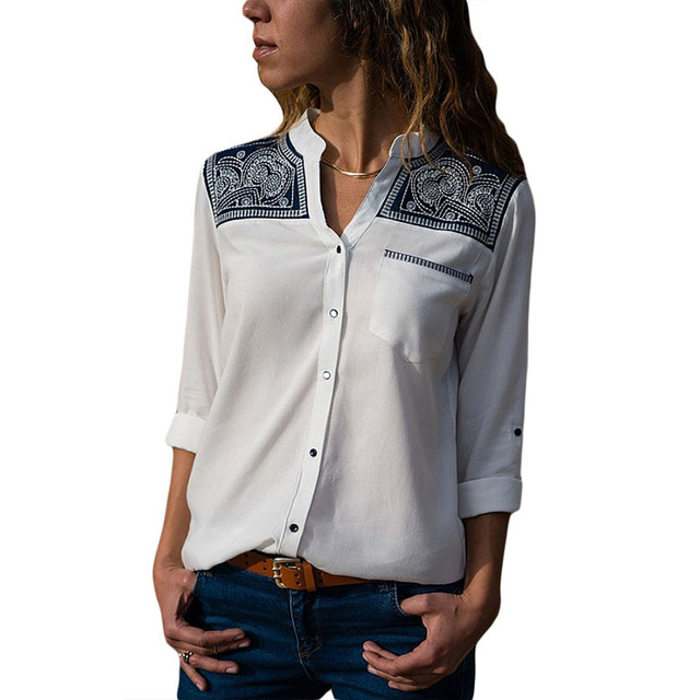 New Fashion Blouses Embroidered Shoulder Accent Creamy Shirt for Women Relaxed Boyfriend Shirt Long Sleeve Shirts Workwear