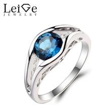 Leige Jewelry Round Cut Gemstone London Blue Topaz Ring Wedding Ring November Birthstone 925 Sterling Silver Ring for Women