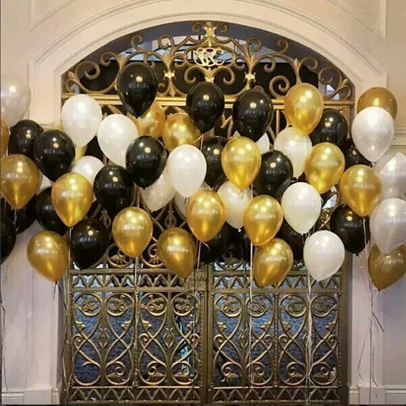 15pcs/lot 10 inch Gold Black White Latex Helium Balloons Wedding Baby Shower Birthday Party Decor Supplies Kids Toy air globos