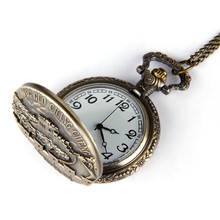 Fashion  Men's Watch  Vintage Bronze Great Wall Pendant Pocket Quartz Pocket Watch Necklace  dropshopping free shipping  #50