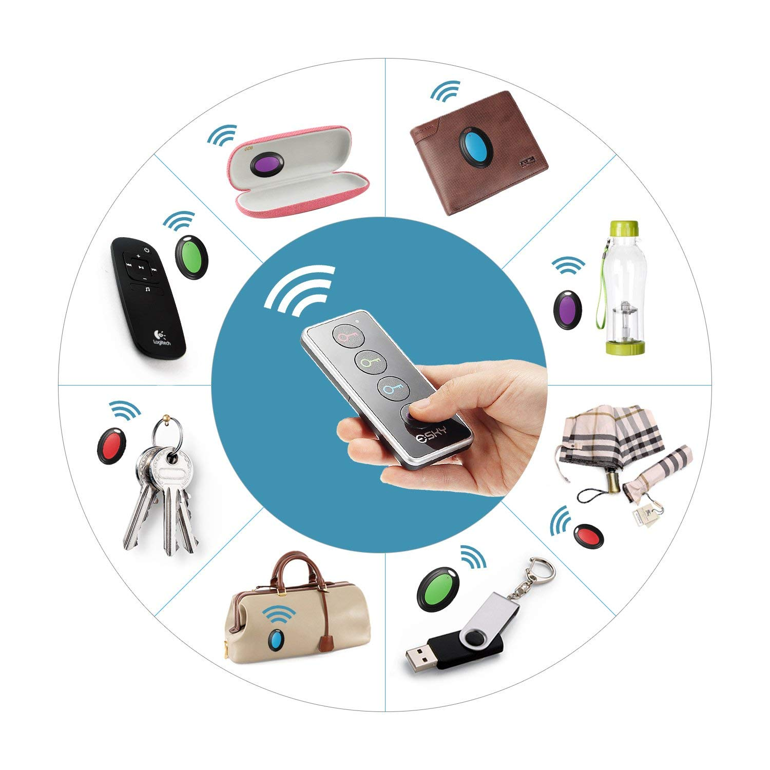 Key Finder Wireless RF Item Locator Tracker Support Remote Control 1 Transmitter and 4 Receivers Wireless Locator Pet Wallet in Smart Activity Trackers from Consumer Electronics