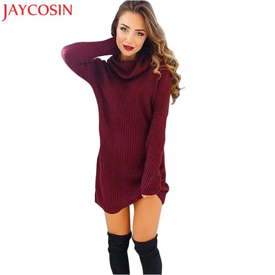 JAYCOSIN 2017 New Design Womens Casual Long Sleeve Jumper Turtleneck Sweaters Coat Blouse christmas sweater Gift Jan 4 Drop Ship