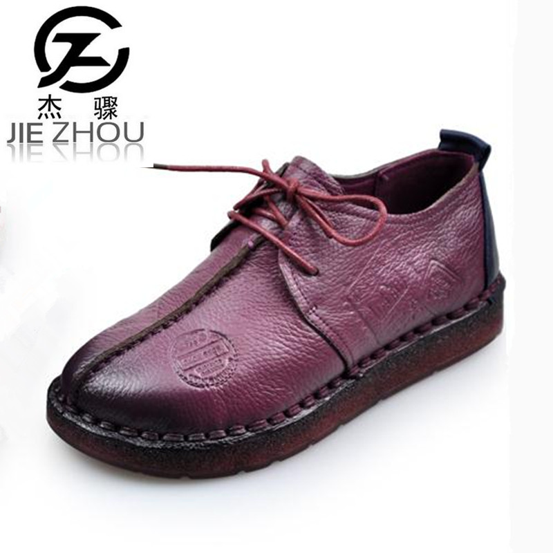 2017 spring autumn Genuine leather flat shoes Large size 41 casual Women shoes thick bottom mother's shoes elderly shoe zapatos beango 2017 spring autumn casual women shoes lace up metal decor thick bottom leather shoe breathable travel loafers female