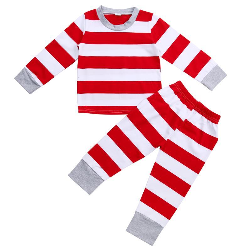 New Christmas Family Matching Clothes 2pcs Child Kids Striped Pajamas Set