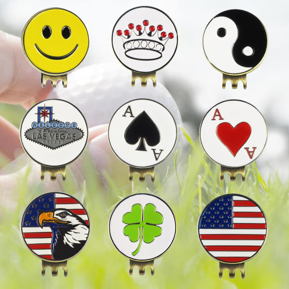 PINMEI Golf Hat Clips Golf Ball Mark Sets Cap Clips Golf Markers Sets Pack Of 2