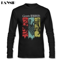 Hip Hop T Shirts Mens Game Of Thrones Long Sleeve Round Neck Cotton Men T Shirts
