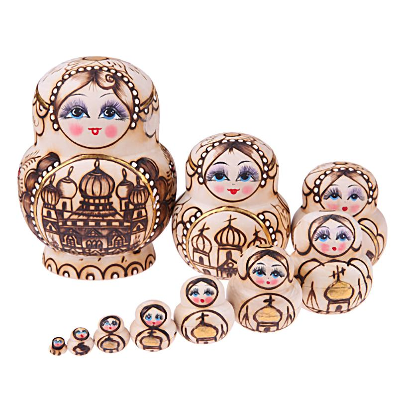 10pcs/Set Castle Pattern Wooden Matryoshka Doll Russian Nesting Dolls Kids Toy Handmade Crafts for Girls Christmas Gifts