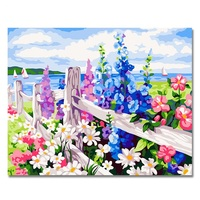 Fence Flower Painting By Numbers DIY Wall Pictures Digital Oil On Canvas Drawing By Numbers For