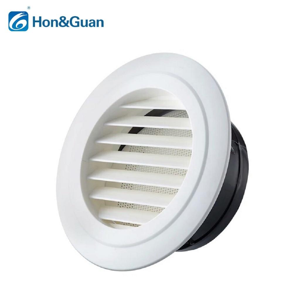 Hon & Guan Rund Entlüftung ABS Jalousie Lochblechabdeckung Weiß Untersicht Vent mit Eingebautem Fliegengitter Masche für Bad büro Belüftung