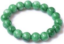 лучшая цена New Genuine Natural Green Han Yu Cold Stone Beaded Bracelet Round Beads Women Men's Gift Bracelets Jades Jewelry Free Shipping