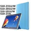 Ultra delgado 4-Fold soporte PU funda protectora Flip libro de negocios para Huawei Mediapad 10 FHD y del acoplamiento y del acoplamiento +