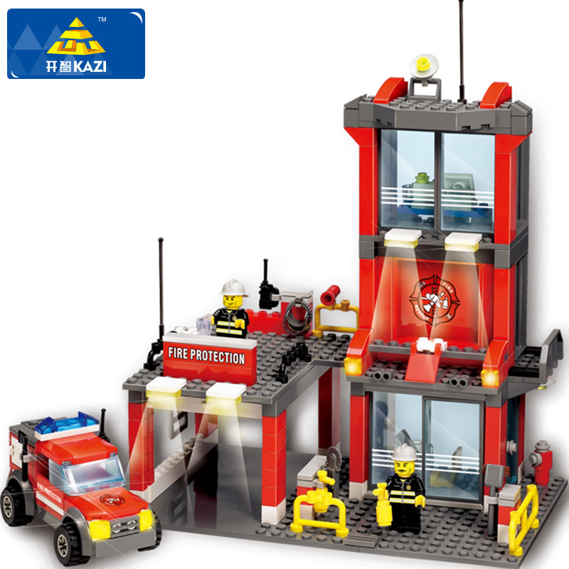 KAZI 8052 Fire Station Building Block Firefighter Building Blocks 300+pcs DIY Blocks Educational Playmobil Toys For Children jie star fire ladder truck 3 kinds deformations city fire series building block toys for children diy assembled block toy 22024