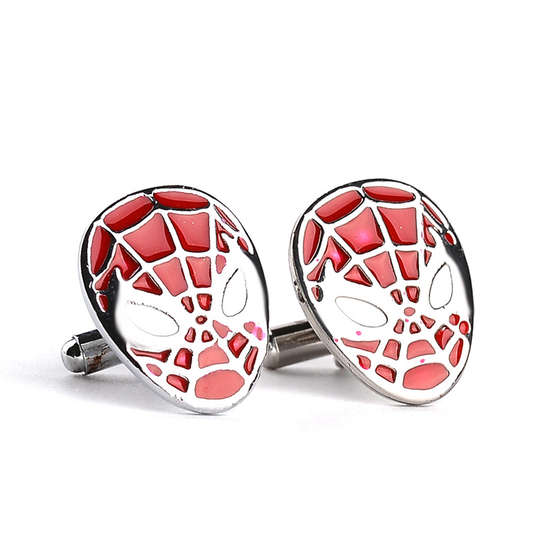 10pair/lot New Arrives Spider-Man <font><b>Mask</b></font> Cuff Link Gemelos French <font><b>Shirt</b></font> Sleeve Button <font><b>Spiderman</b></font> CuffLinks For Men Wholesale