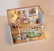 Cute Families House Diy Dollhouse Kits DIY Toys for Girls with Doll House Furniture Birthday Gift  Juguetes Brinquedos sylvanian families house diy dollhouse handmade building toys birthday gift dolls house furniture kids toy juguetes brinquedos