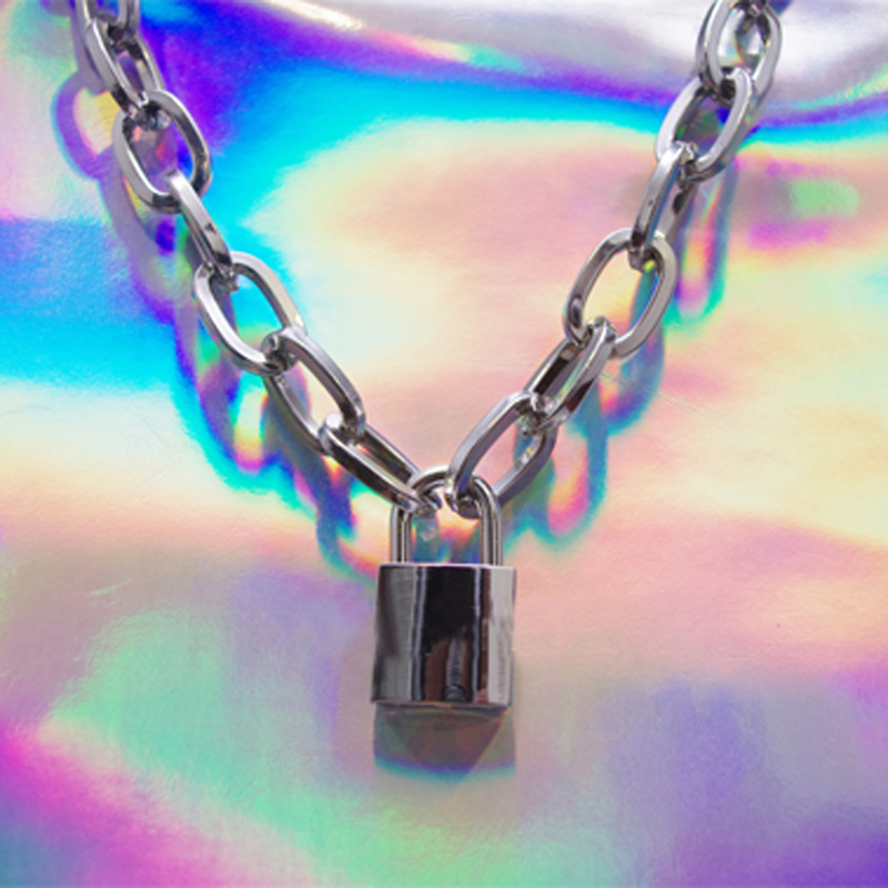 Men Women Unisex Handmade Chain Choker Metal Necklace Square Lock Lockable Collar Heavy Duty Choker Necklace