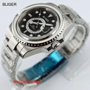 Image 2 - 1 шт. E2417 BLIGER 43 мм керамический черный стальной ремешок GMT функциональные часы автоматические мужские наручные часы