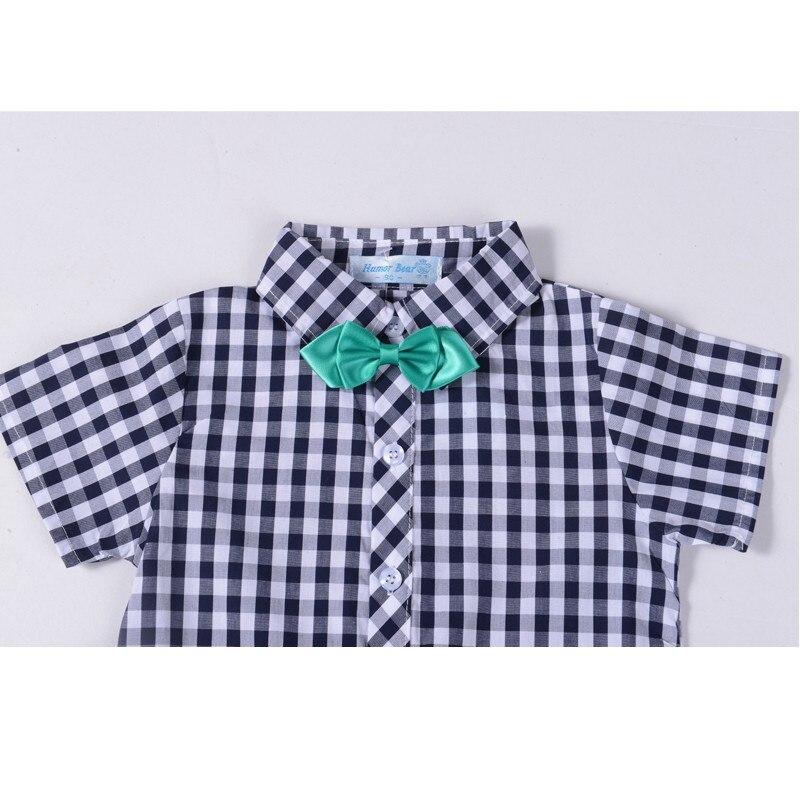 meninos conjunto de roupas xadrez camisa superior