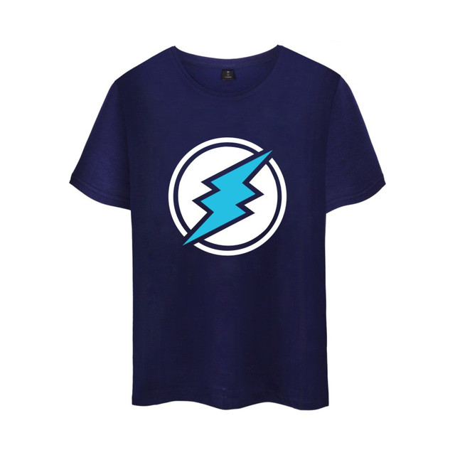Electroneum Logo Print T-shirt Electroneum cryptocurrencies Cotton tee shirt Short Sleeve Sleeve Blockchain  Bitcoin clothes