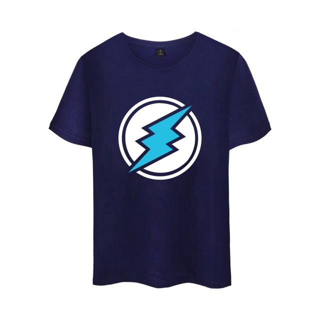 Electroneum Logo Print T-shirt Electroneum cryptocurrencies Cotton tee shirt Short Sleeve Sleeve Blockchain  Bitcoin clothes