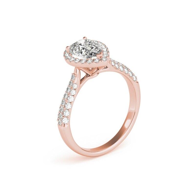 AINUOSHI 925 argent Sterling couleur or Rose poire coupe anneaux de mariage femmes fiançailles Halo bandes anneaux belle argent fête cadeaux - 3