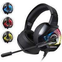 Gaming Headset ONIKUMA K6 Stereo Game Headphones Earphone with Mic RGB LED light for PS4 For New Xbox One Computer PC Gamer