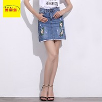2017 Summer Floral Embroidery Demin Skirts A Line Empire Casual Flowers Female Jean Mini Skirt Plus