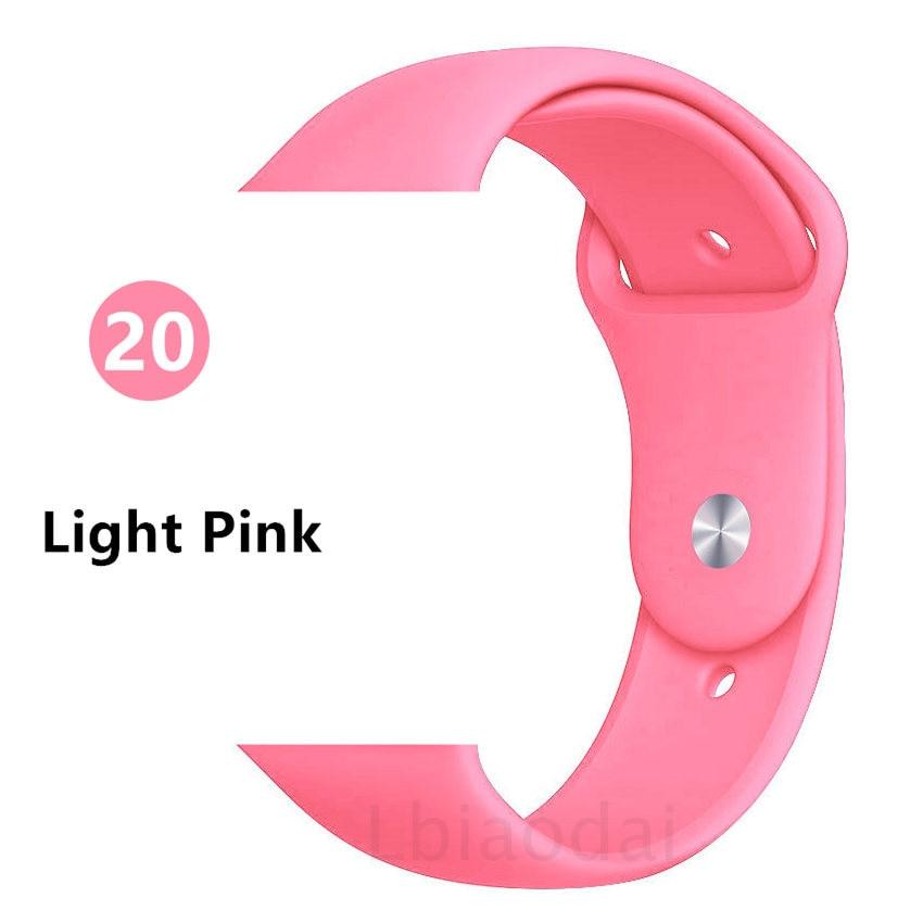 Ремешок для Apple Watch 38 мм 42 мм iWatch 4 ремешка 44 мм 40 мм спортивный силиконовый ремень браслет Apple watch 5 4 3 2 Аксессуары для ремешка - Цвет ремешка: Light Pink