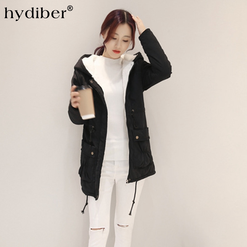 2016 Winter Long Coat Women Jacket Flocking Parkas Hooded Cotton Padded Adjustable Waist Warm Wadded Outerwear Overcoat Tops new wadded winter jacket women cotton long coat with hood pompom ball fashion padded warm hooded parkas casual ladies overcoat