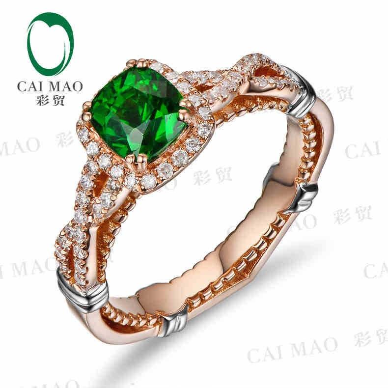 CaiMao 18KT/750 oro rosa 1,17 ct Natural tsavorita y 0,27 ct corte completo diamante compromiso anillo de piedras preciosas joyería