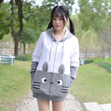 Totoro Cosplay Jacket Cute Animal Women Tops Winter Fleece Hoodies Long Zipper Sweatshirts Anime Cosplay Vestidos