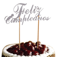 DIY Spainish Feliz Cumpleanos Cake Flag Topper Happy Birthday Glitter Gold Silver Birthday Party Cake Baking Decor Customized feliz feliz aburrimiento
