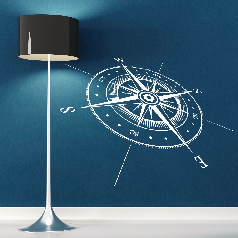 Compass Wall Sticker Vinyl Compass North South East West Points Wall Decal Vinyl Wall Art Mural Direction Design Decor AY651