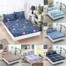 Bed Sheet With Pillowcase Printed Linen Queen Size Mattress Covers All-inclusive Fitted 3pcs Set Elastic Band
