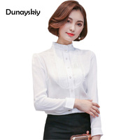 New Autumn Women Blouses Long Sleeve Office Ladies Tops White Blouse Elegant Woman Top Shirts Stand