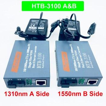 1 Pair HTB-3100 Optical Fiber Media Converter Fiber Transceiver Single Fiber Converter 25km SC 10/100M Singlemode Single Fiber 1