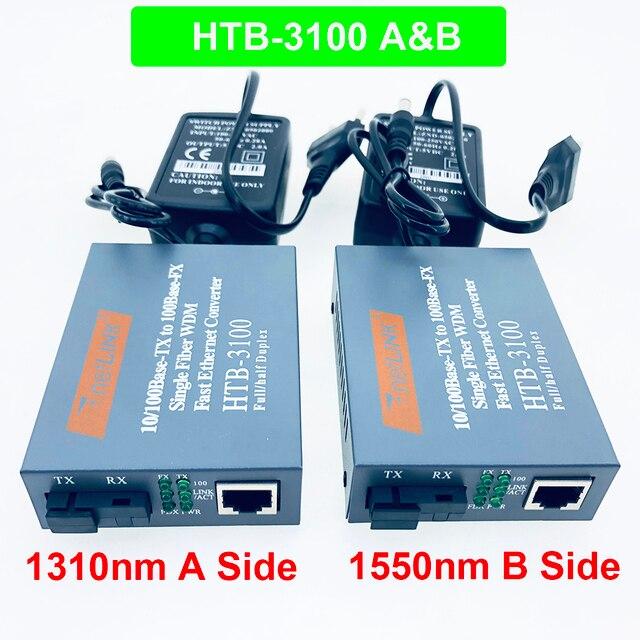 1 çift HTB-3100 Optik Fiber ortam dönüştürücü Fiber Alıcı-verici Tek Fiber Dönüştürücü 25 km SC 10/100 M Tek Modlu Tek Fiber