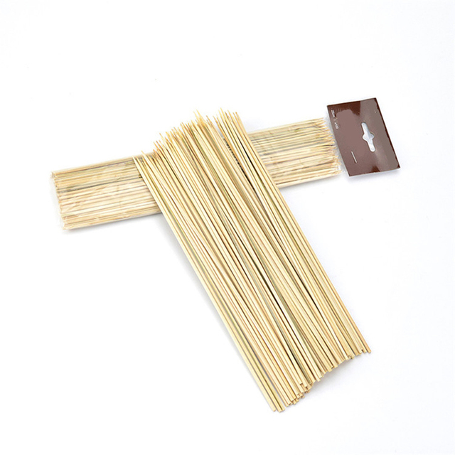 New 100pcs Lot Thin Bamboo Sticks Skewers Disposable Bbq Accessories Camping Picnic Skewer 25cmx3mm