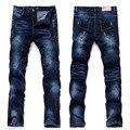 2017 pantalones Del Verano Del Resorte diseñador de Los nuevos Hombres jeans de Marca de Alta calidad los hombres jeans de lujo decoración agujero de la Manera pantalones vaqueros del muchacho