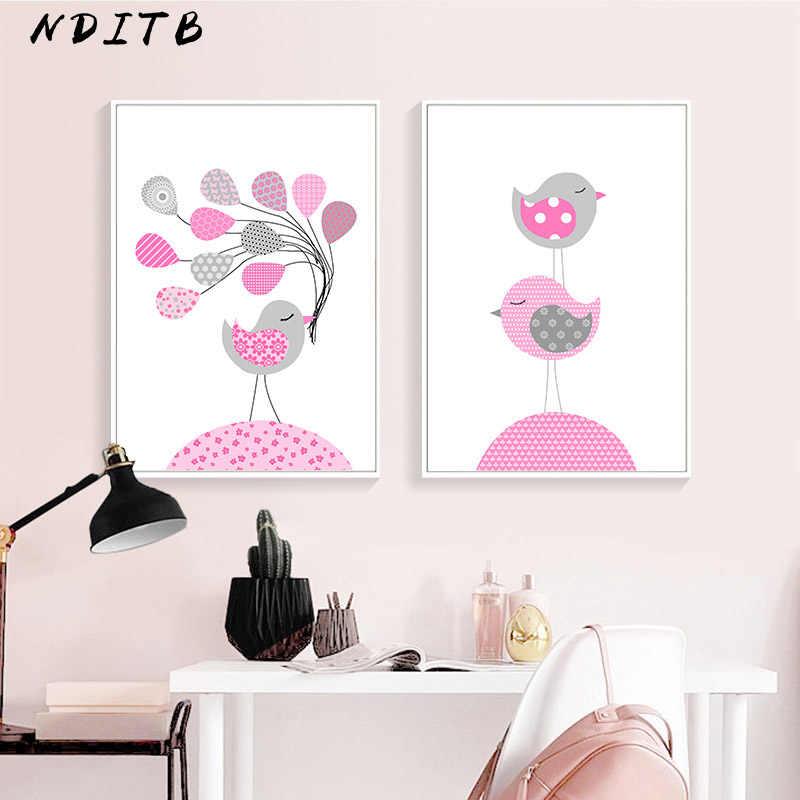 NDITB розовая птица детская настенная живопись садик холст живопись Мультяшные постеры принты скандинавские дети украшение картина украшение для спальни девочки