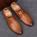 men England luxury woven pattern genuine leather shoes casual personality wedding club dress lace up teenage comfort shoe sapato