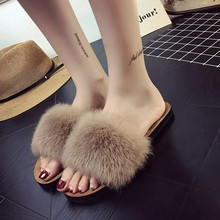 Women Summer Slipper Rabbit Fur Beach Sandals Slip On Flip Flops Flat Heel Slippers Lady Flat Heel Slides Fashion Outdoor Shoes lucyever women shoes flip flops 2018 new summer rhinestones high heel slip on women slipper black blue flip flops size 35 41